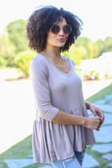 Oversized Babydoll Top in Taupe Side View