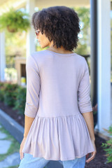 Oversized Babydoll Top in Taupe Back View