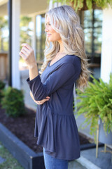 Oversized Babydoll Top in Charcoal Side View