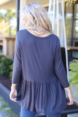 Oversized Babydoll Top in Charcoal Back View