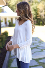 Oversized Babydoll Top in White Side View