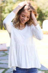 Oversized Babydoll Top in White Front View
