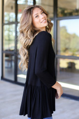 Oversized Babydoll Top in Black Side View