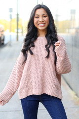 Blush - Model wearing an Oversized Chenille Sweater