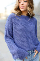 Purple - Dress Up model wearing an Oversized Chenille Sweater with skinny jeans