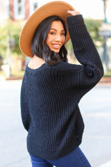 Oversized Chenille Sweater in Black Back View