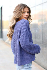 Oversized Chenille Sweater in Purple Side View