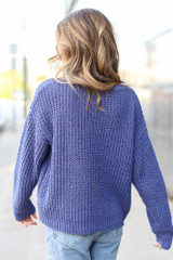 Oversized Chenille Sweater in Purple Back View