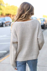 Oversized Chenille Sweater in Taupe Back View