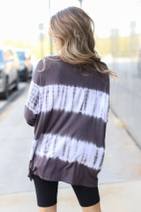 Oversized Tie-Dye Top in Charcoal Back View