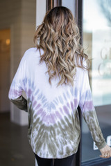 Oversized Tie-Dye Top in Olive Back View