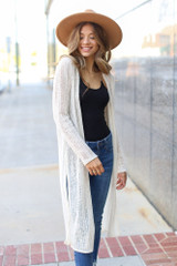Ivory - Model wearing a Loose Knit Cardigan