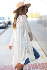 Ivory - Dress Up model wearing a Loose Knit Cardigan