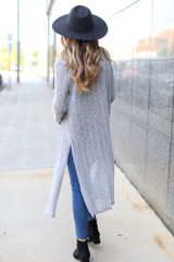 Loose Knit Cardigan in Grey Back View