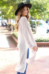 Loose Knit Cardigan in Taupe Side View