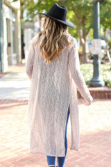 Loose Knit Cardigan in Taupe Back View