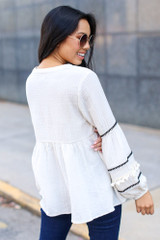 Statement Sleeve Babydoll Blouse Back View