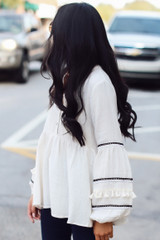 Ivory - Statement Sleeve Babydoll Blouse from Dress Up