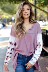 Lilac - Oversized Tie-Dye Top