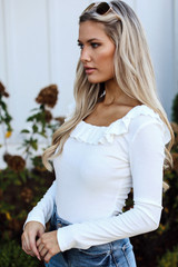 Ribbed Knit Ruffle Bodysuit in Ivory Side View
