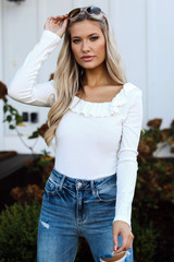 Ivory - Ribbed Knit Ruffle Bodysuit from Dress Up