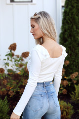 Ribbed Knit Ruffle Bodysuit Back View