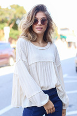 Ivory - Oversized Knit Babydoll Top