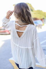 Ivory - Oversized Knit Babydoll Top Back View