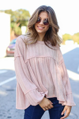 Blush - Oversized Knit Babydoll Top from Dress Up