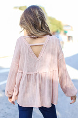 Blush - Model wearing an Oversized Knit Babydoll Top