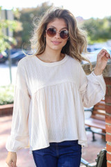 Oversized Knit Babydoll Top in Ivory Front View