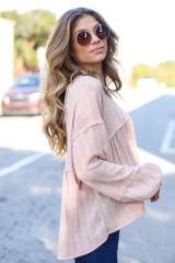 Oversized Knit Babydoll Top in Blush Side View