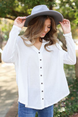 White - Model wearing a Button Front Waffle Knit Top