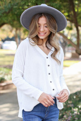 White - Dress Up model wearing a Button Front Waffle Knit Top
