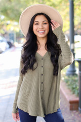 Olive - Dress Up model wearing a Button Front Waffle Knit Top with a wide brim hat