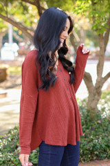 Button Front Waffle Knit Top in Wine Side View