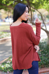 Button Front Waffle Knit Top in Wine Back View