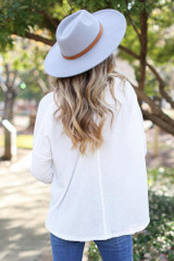 Button Front Waffle Knit Top in White Back View