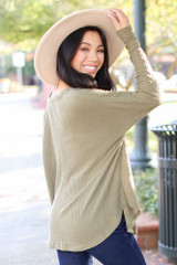 Button Front Waffle Knit Top in Olive Side View