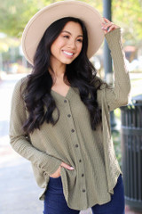 Button Front Waffle Knit Top in Olive Front View