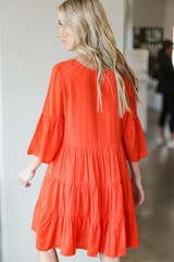 Tiered Babydoll Dress in Orange Back View