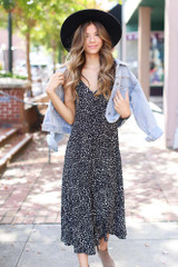 Dress Up model wearing a Floral Button Front Midi Dress with a denim jacket