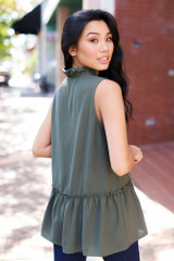 Ruffled Sleeveless Blouse in Olive Back View