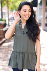 Ruffled Sleeveless Blouse in Olive Front View