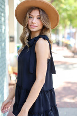 Black - Tie-Neck Sleeveless Blouse from Dress Up