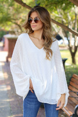 White - Swiss Dot Blouse from Dress Up