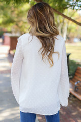 Swiss Dot Blouse in White Back View