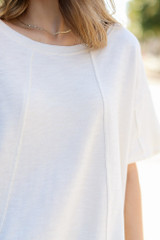 Ivory - Close Up of an Oversized Knit Top