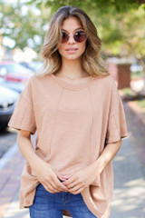 Oversized Knit Top in Camel Front View