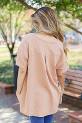 Oversized Knit Top in Camel Back View